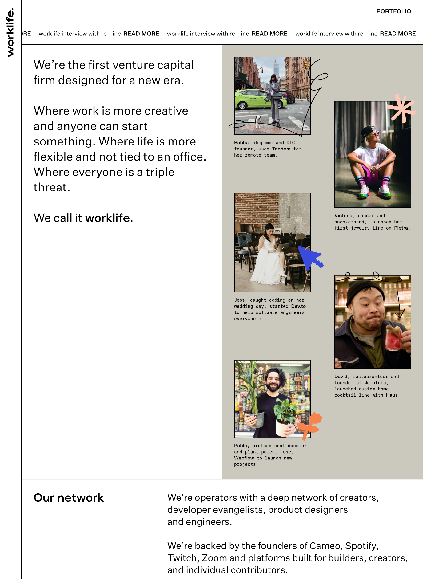 screenshot of Worklife website